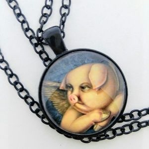 NEW Cabochon Necklace Black Chain-Angel Pig